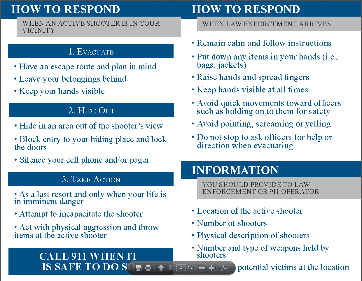 Active Shooter Card