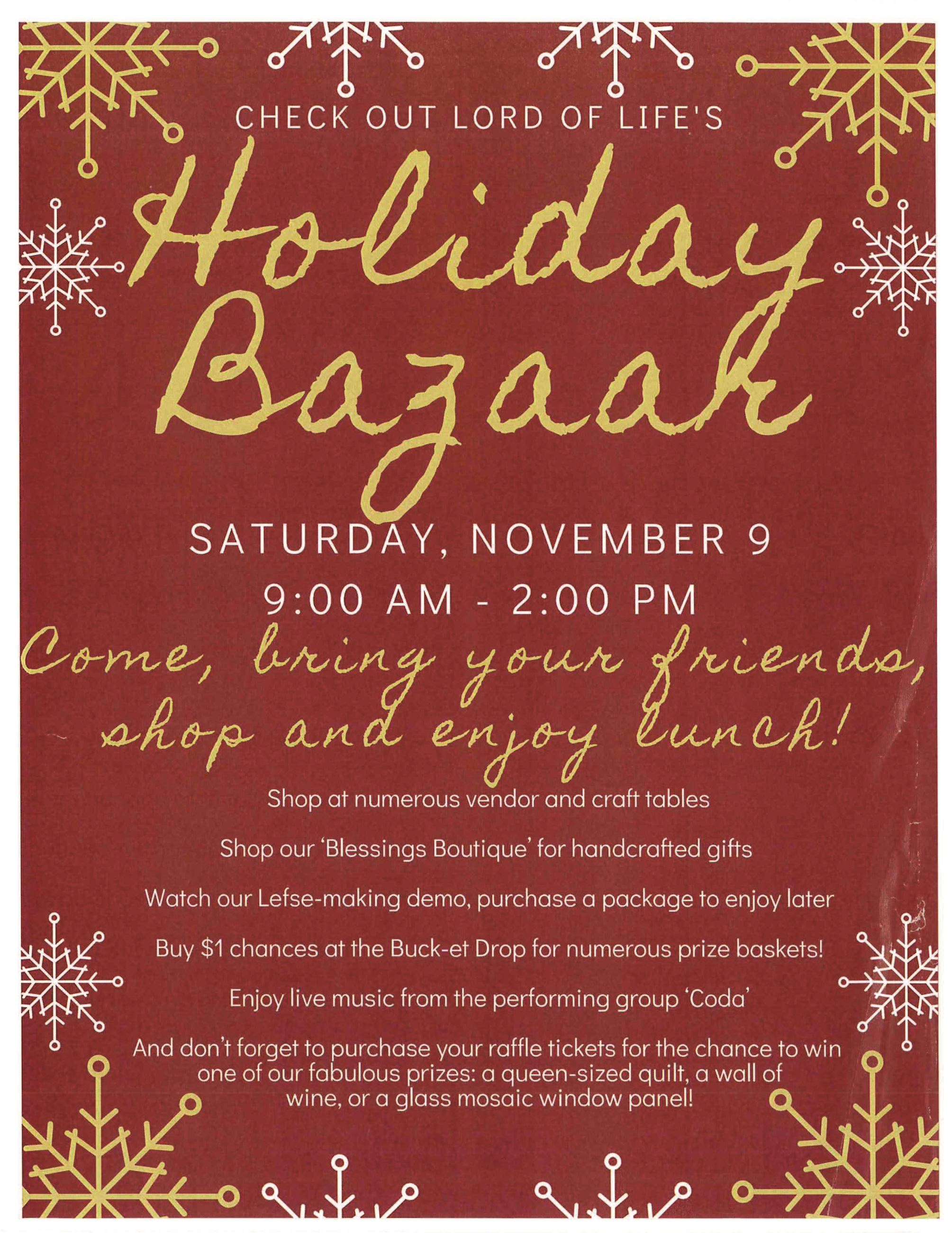 LOL Holiday Bazaar Flyer